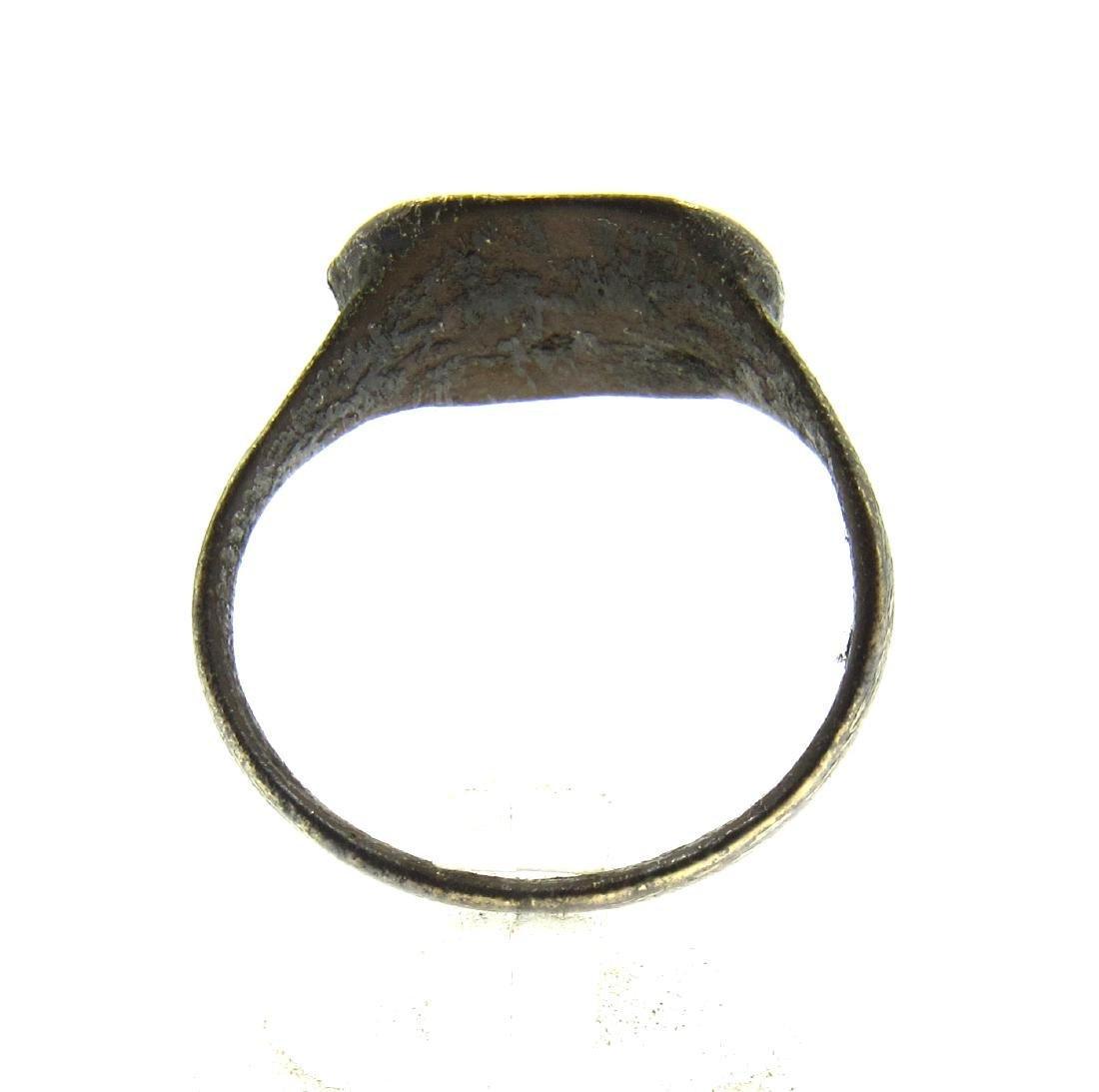 Medieval Crusaders Era Bronze Ring with Cross Motif - 3