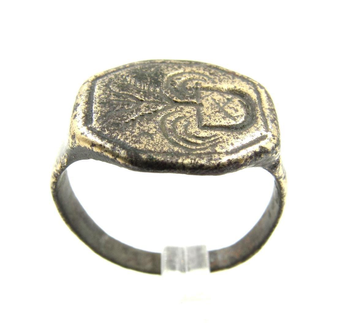 Medieval Crusaders Era Bronze Ring with Hereldic design