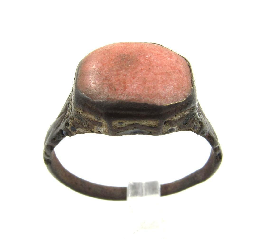 Late Medieval Tudor Era Bronze Ring with Enamel