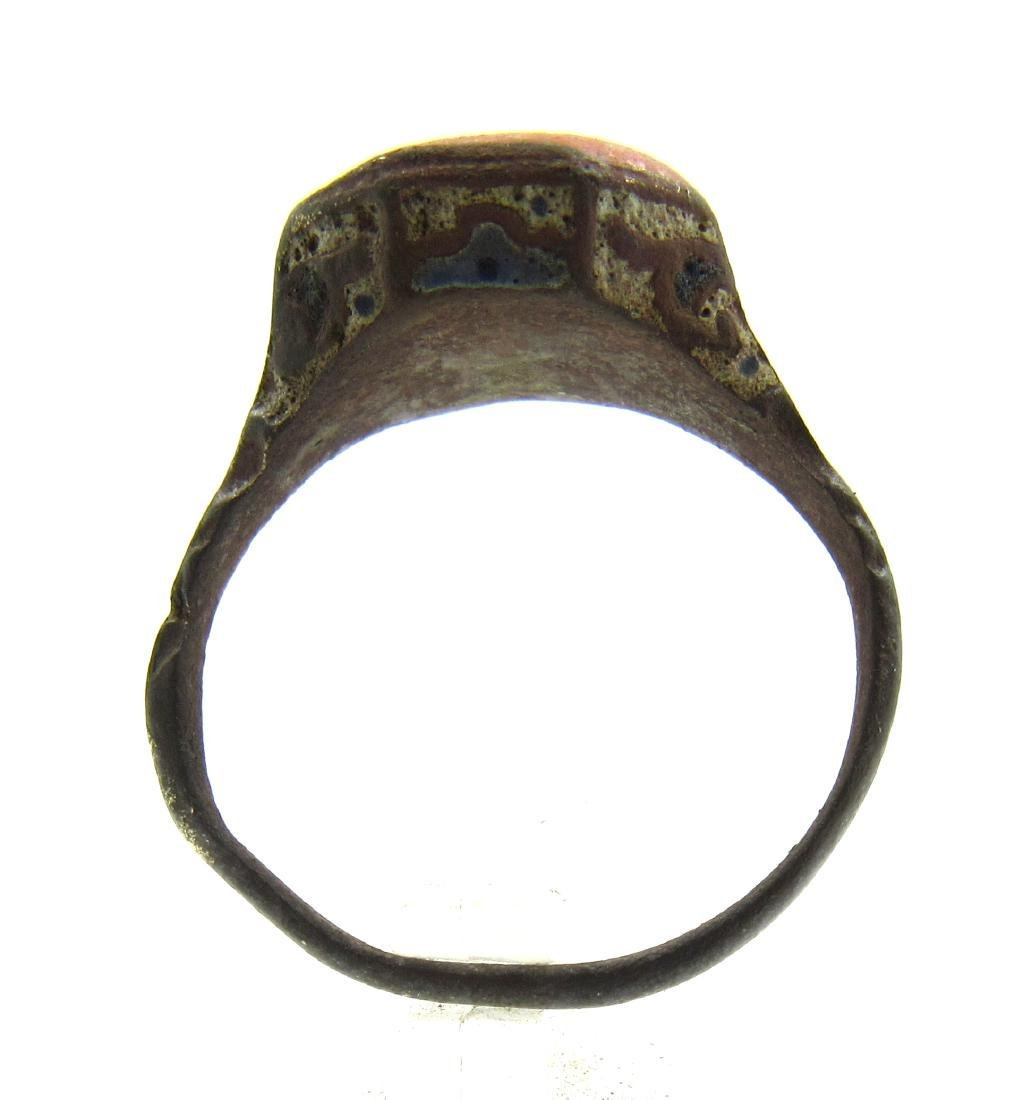 Late Medieval Tudor Era Bronze Ring with Enamel - 3