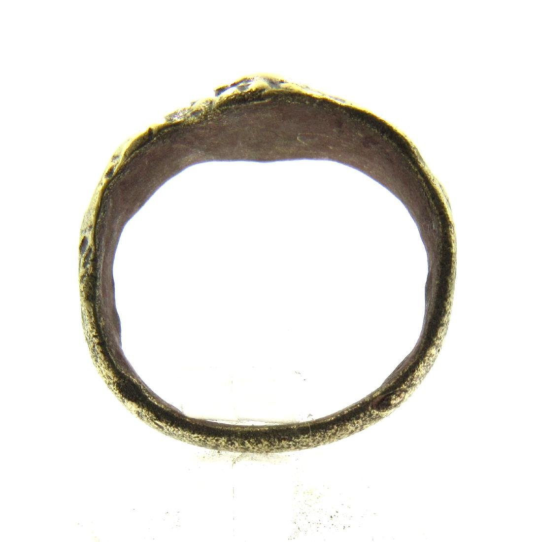 Late Medieval Tudor Era Bronze Floral Ring - 3