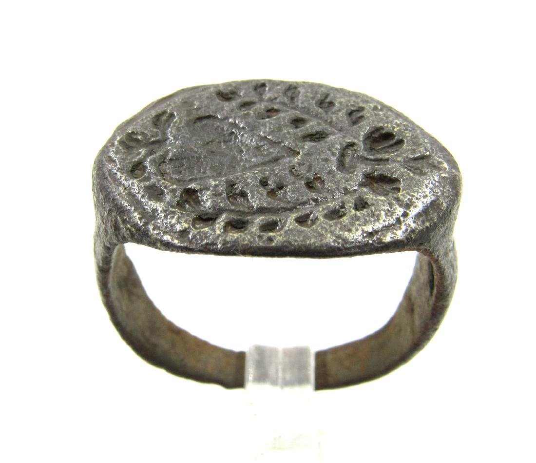 Medieval Crusaders Era Bronze Ring with Sacred Heart &