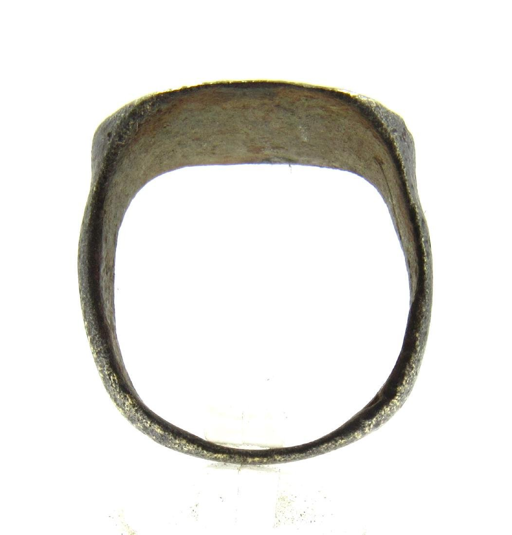 Medieval Crusaders Era Bronze Ring with Sacred Heart & - 4