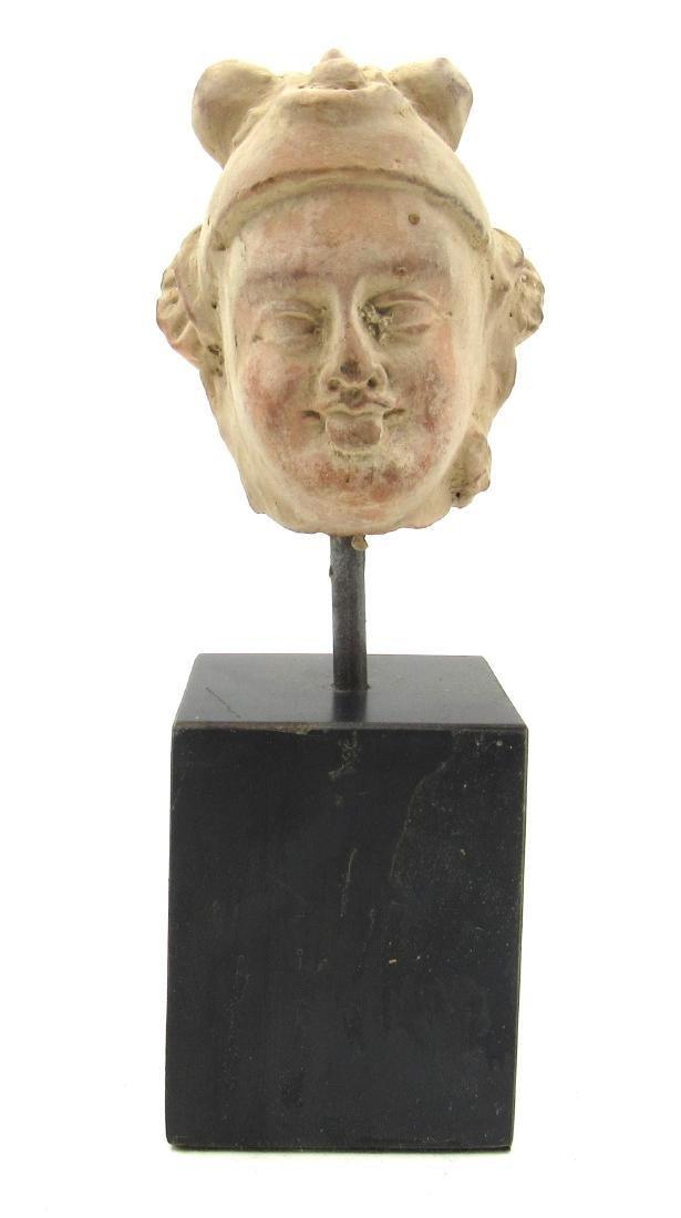Ancient Gandhara Terracotta Buddha Head on Stand