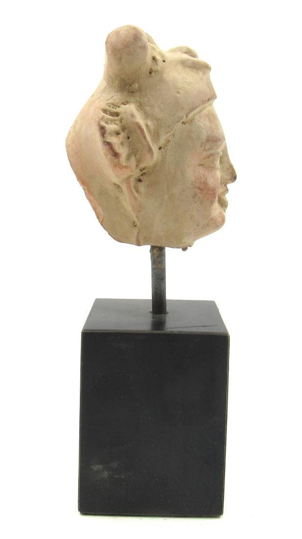 Ancient Gandhara Terracotta Buddha Head on Stand - 2