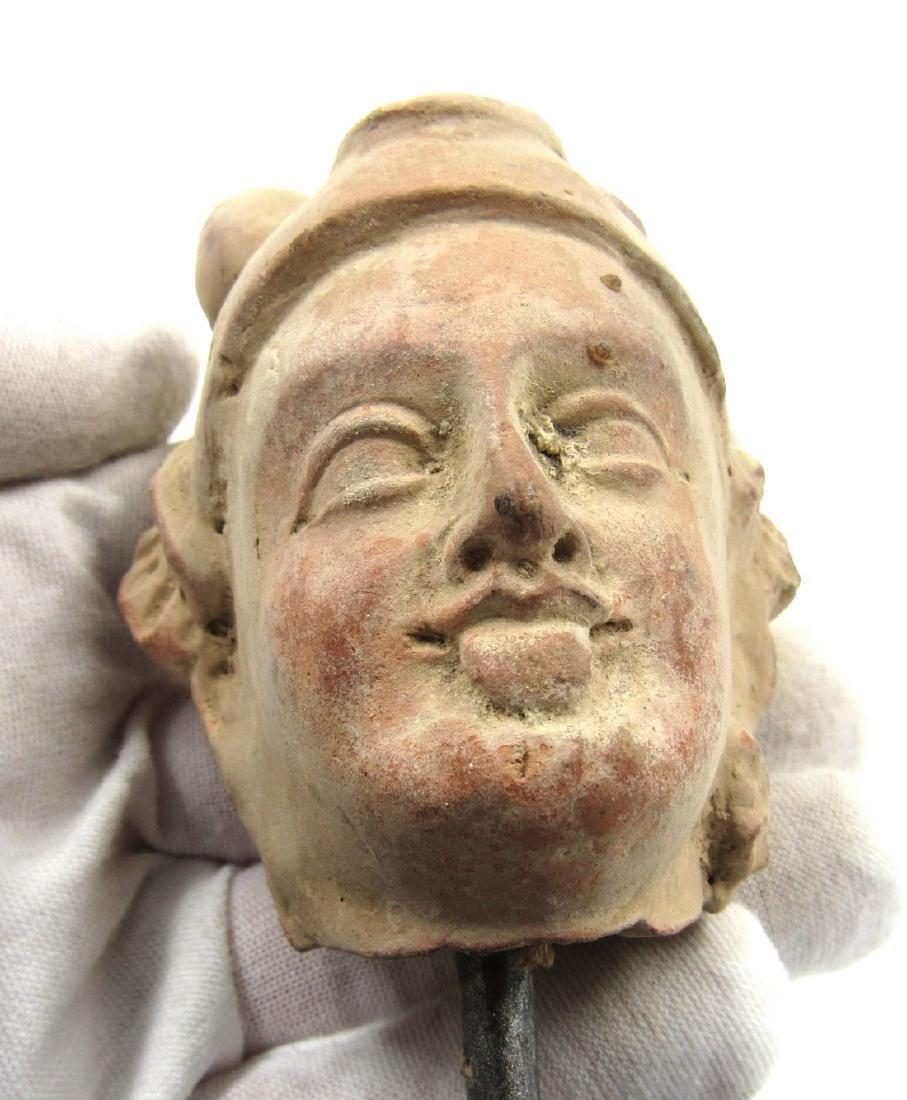 Ancient Gandhara Terracotta Buddha Head on Stand - 4