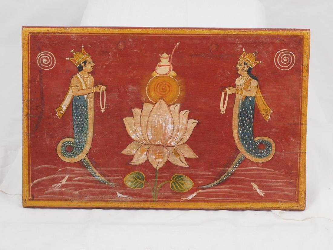 Antique wood panel India two half-fish Gods Matsya