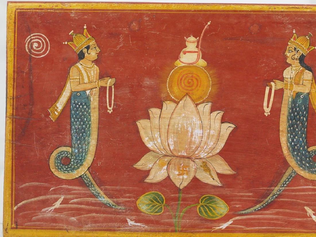 Antique wood panel India two half-fish Gods Matsya - 2