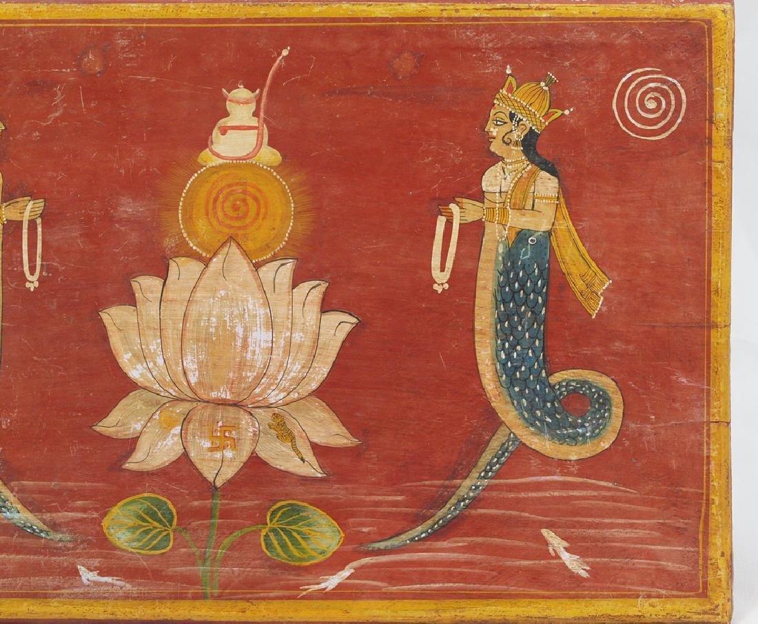 Antique wood panel India two half-fish Gods Matsya - 3