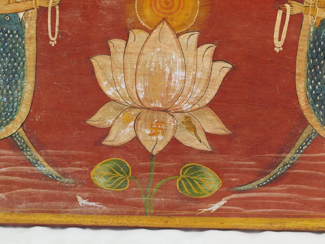 Antique wood panel India two half-fish Gods Matsya - 4