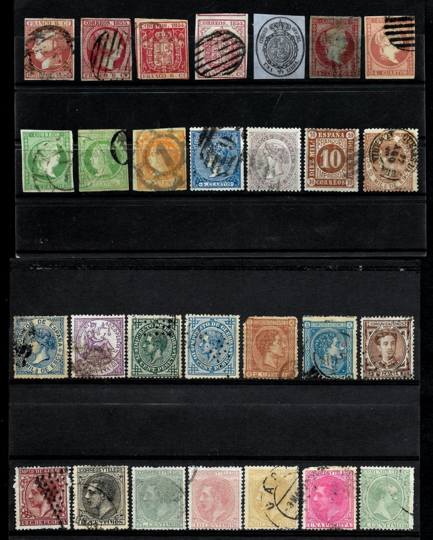 SPAIN 1852/1909 - LOT OF CLASSIC STAMPS - EDIFIL 12-271 - 2