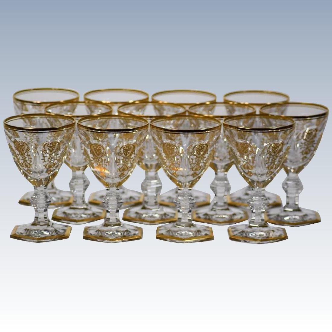 12 Baccarat Gilded Empire Wine Glasses