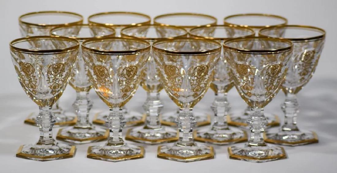 12 Baccarat Gilded Empire Wine Glasses - 2