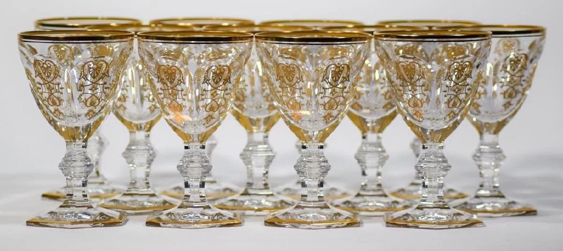12 Baccarat Gilded Empire Wine Glasses - 3