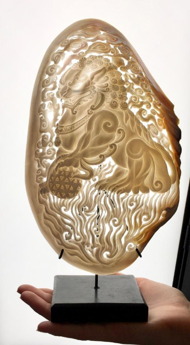Mother of Pearl with Foo Dog carving