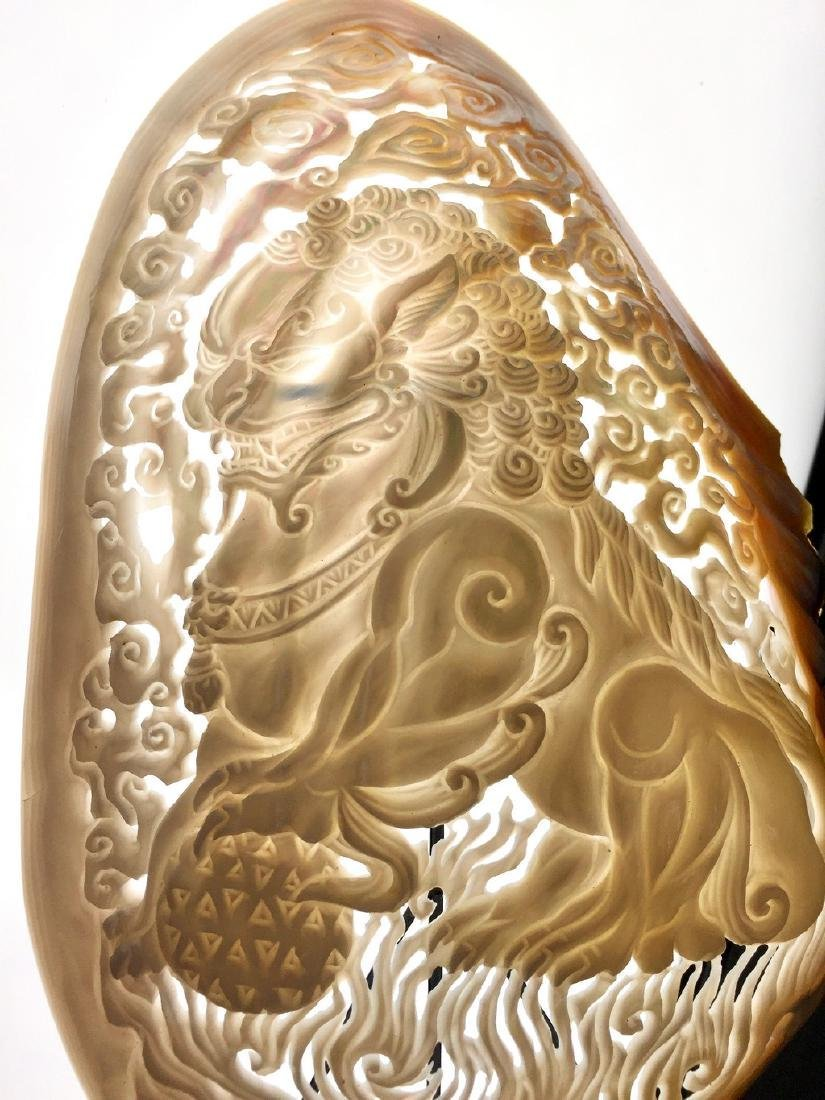 Mother of Pearl with Foo Dog carving - 2