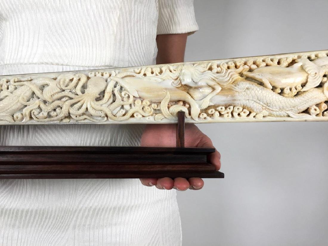 Stunning swordfish tusk with hand engraved oceanic - 2
