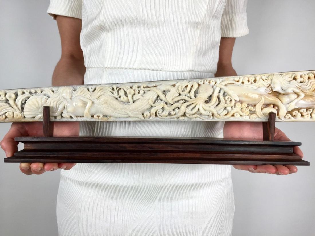 Stunning swordfish tusk with hand engraved oceanic - 3
