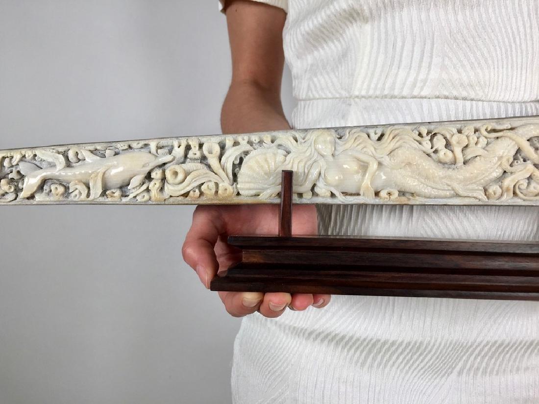 Stunning swordfish tusk with hand engraved oceanic - 4