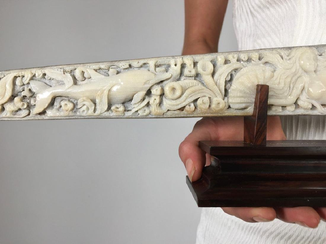 Stunning swordfish tusk with hand engraved oceanic - 7