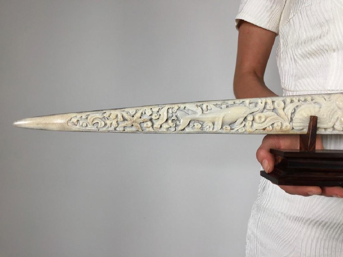 Stunning swordfish tusk with hand engraved oceanic - 9