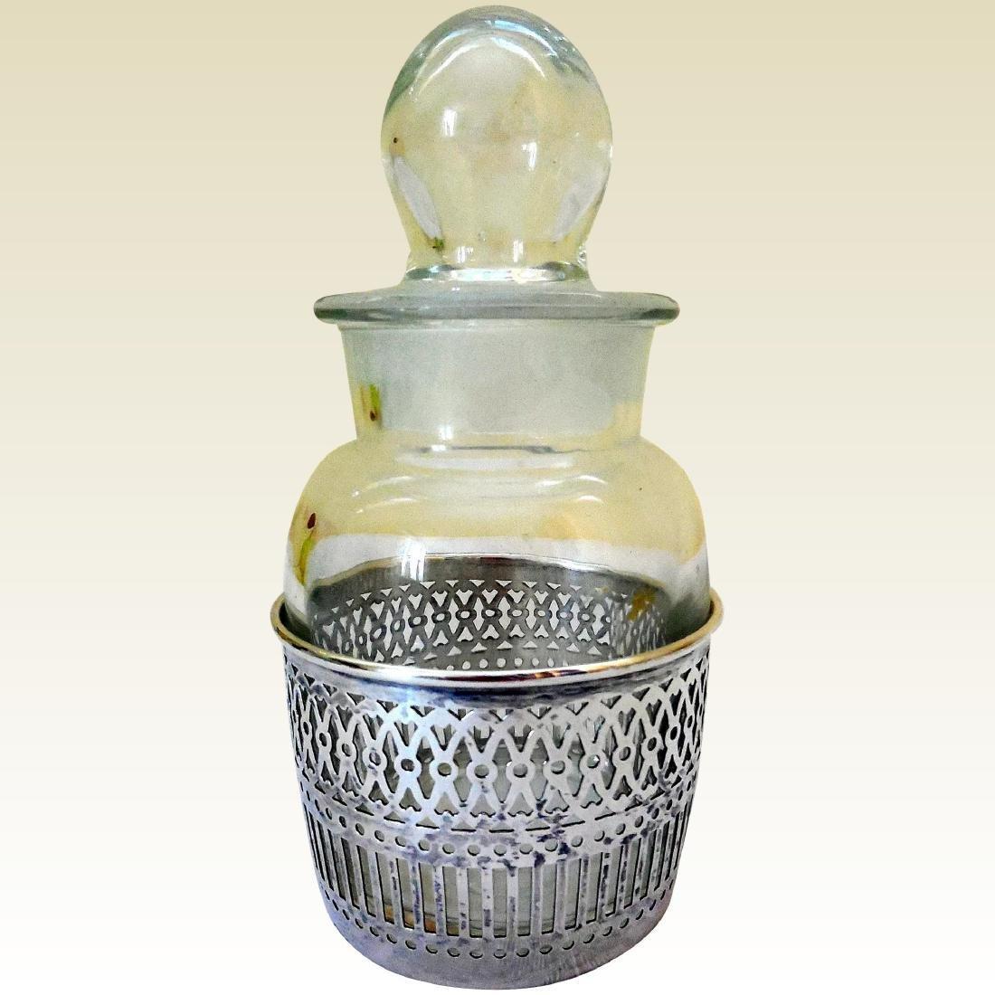Vanity Dresser Jar, Sterling Silver Basket Base