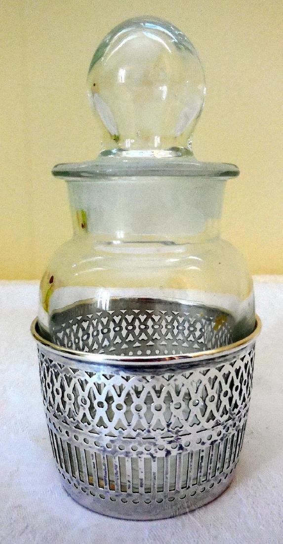Vanity Dresser Jar, Sterling Silver Basket Base - 2