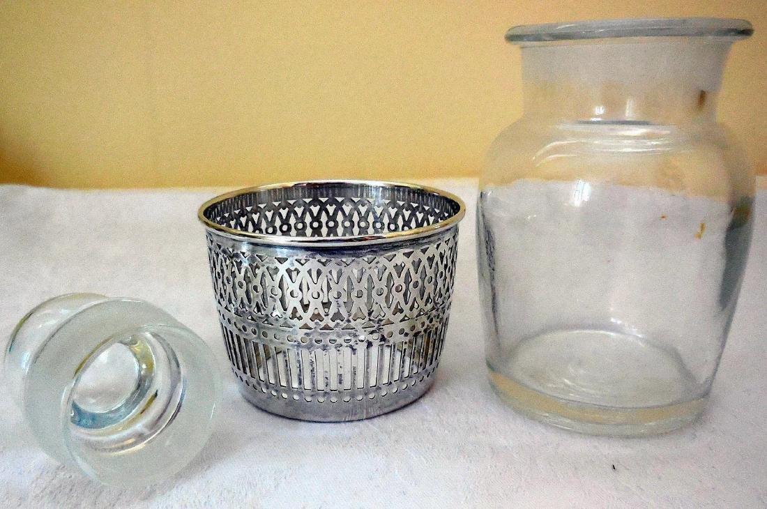 Vanity Dresser Jar, Sterling Silver Basket Base - 4