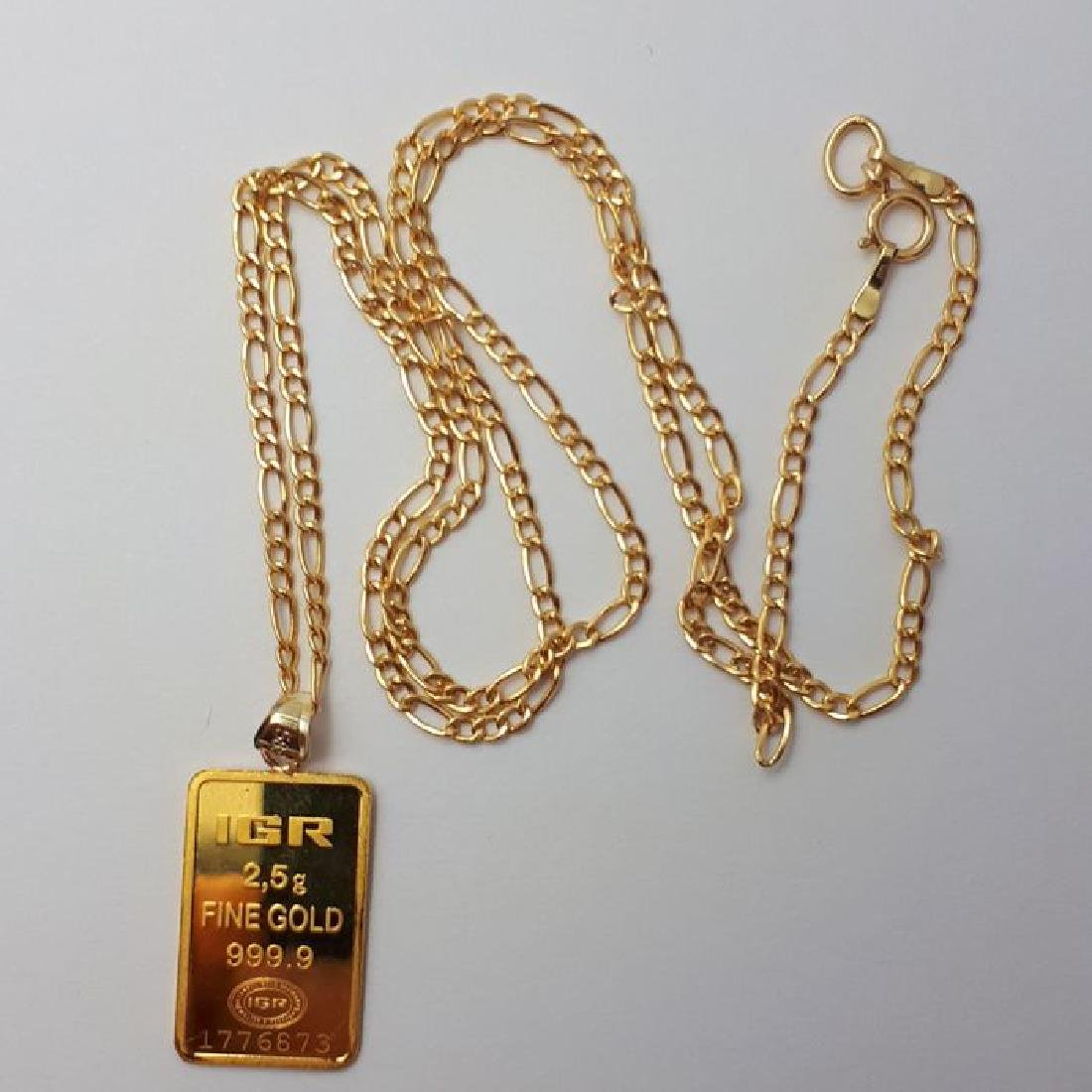 14 ct Yellow Gold Chain & 2.5g Bullion Gold Pendant