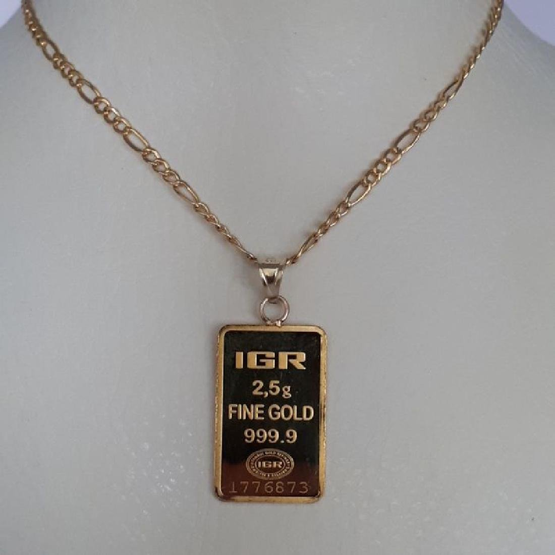14 ct Yellow Gold Chain & 2.5g Bullion Gold Pendant - 3