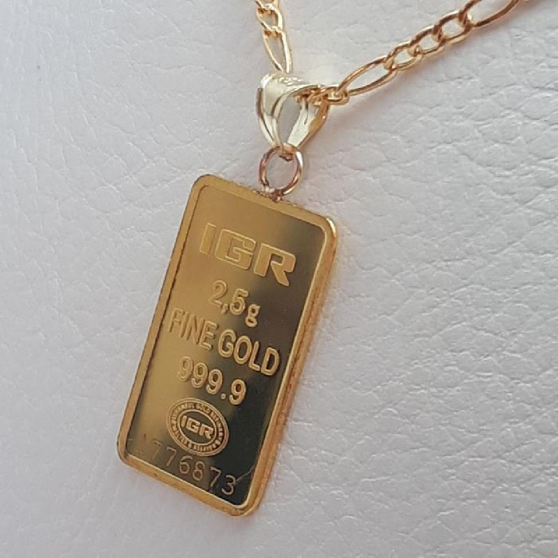 14 ct Yellow Gold Chain & 2.5g Bullion Gold Pendant - 5