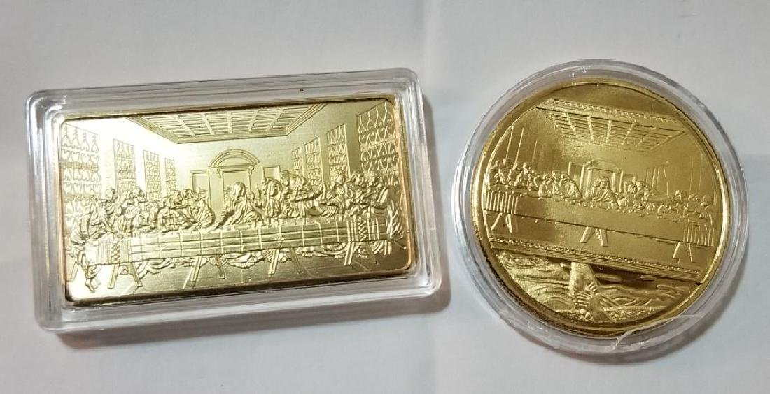 2 Pc Set Last Supper Gold Coin and Bar