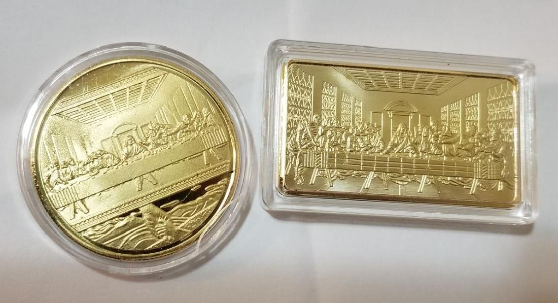 2 Pc Set Last Supper Gold Coin and Bar - 2