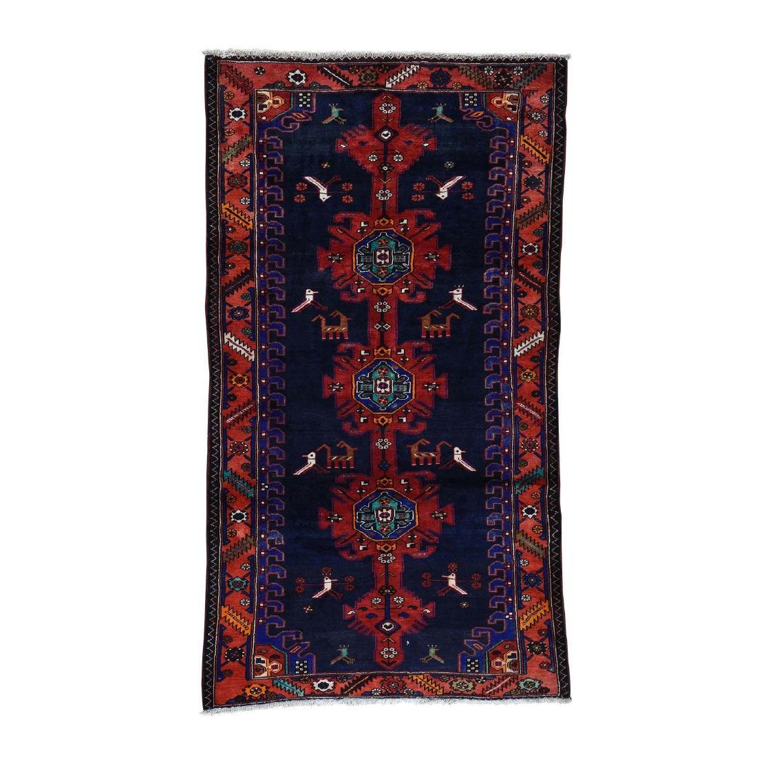 Hand Knotted Semi Antique Persian Hamadan Rug 5.1x9