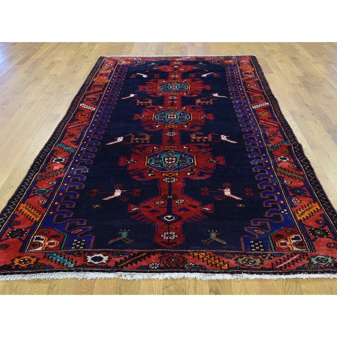 Hand Knotted Semi Antique Persian Hamadan Rug 5.1x9 - 2