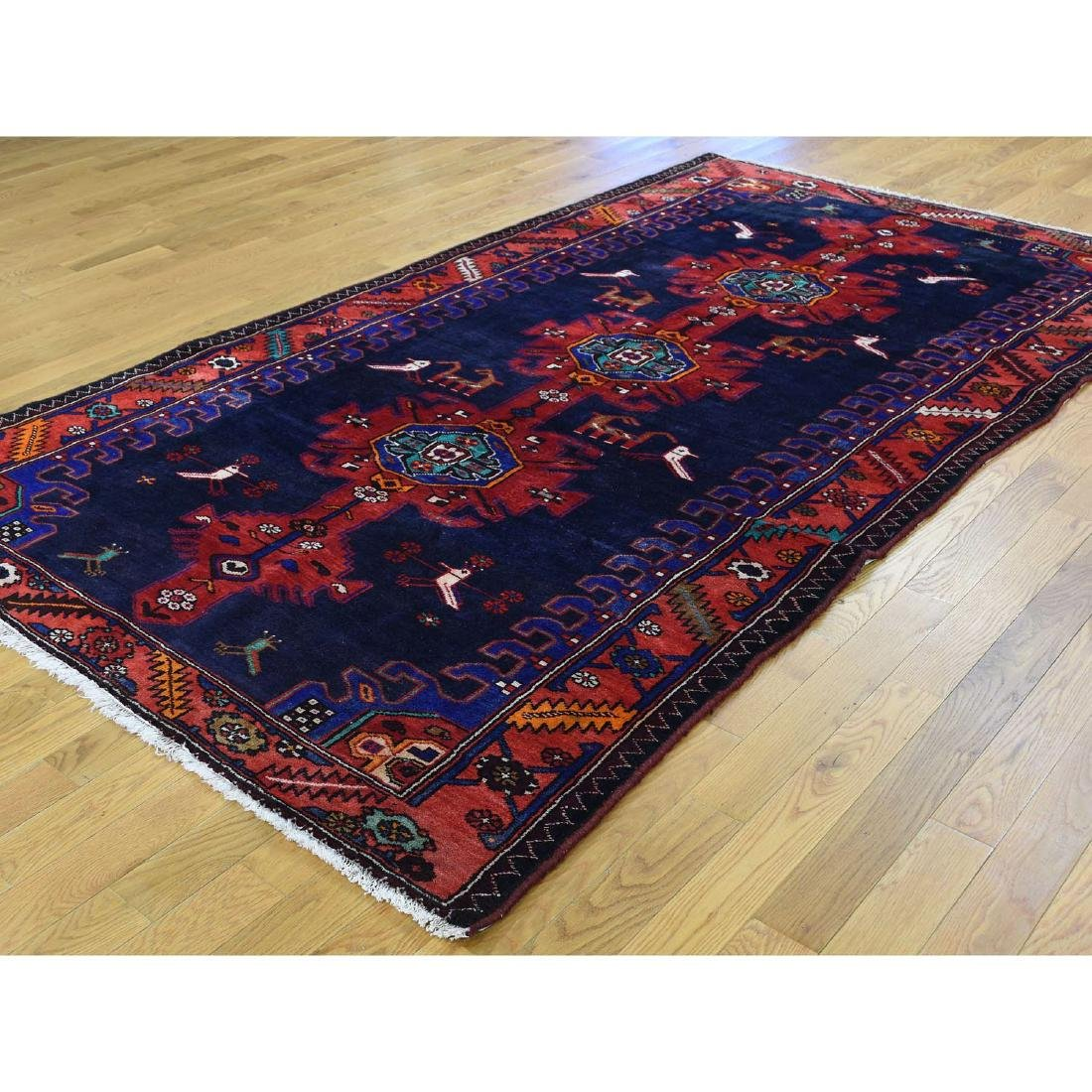 Hand Knotted Semi Antique Persian Hamadan Rug 5.1x9 - 3