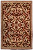 Antique French Savonnerie Rug Hand Knot Brown 8.x12.2