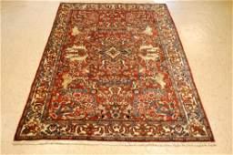 Antique Detailed Animal Persian Bijar Rug 4.4x6.7