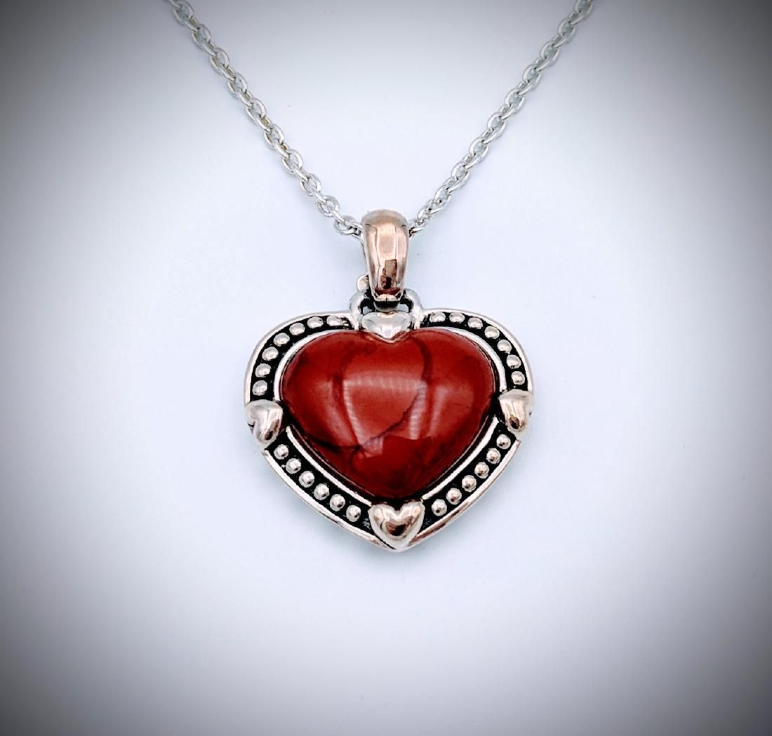Sterling Silver Necklace and Heart Shaped Jasper