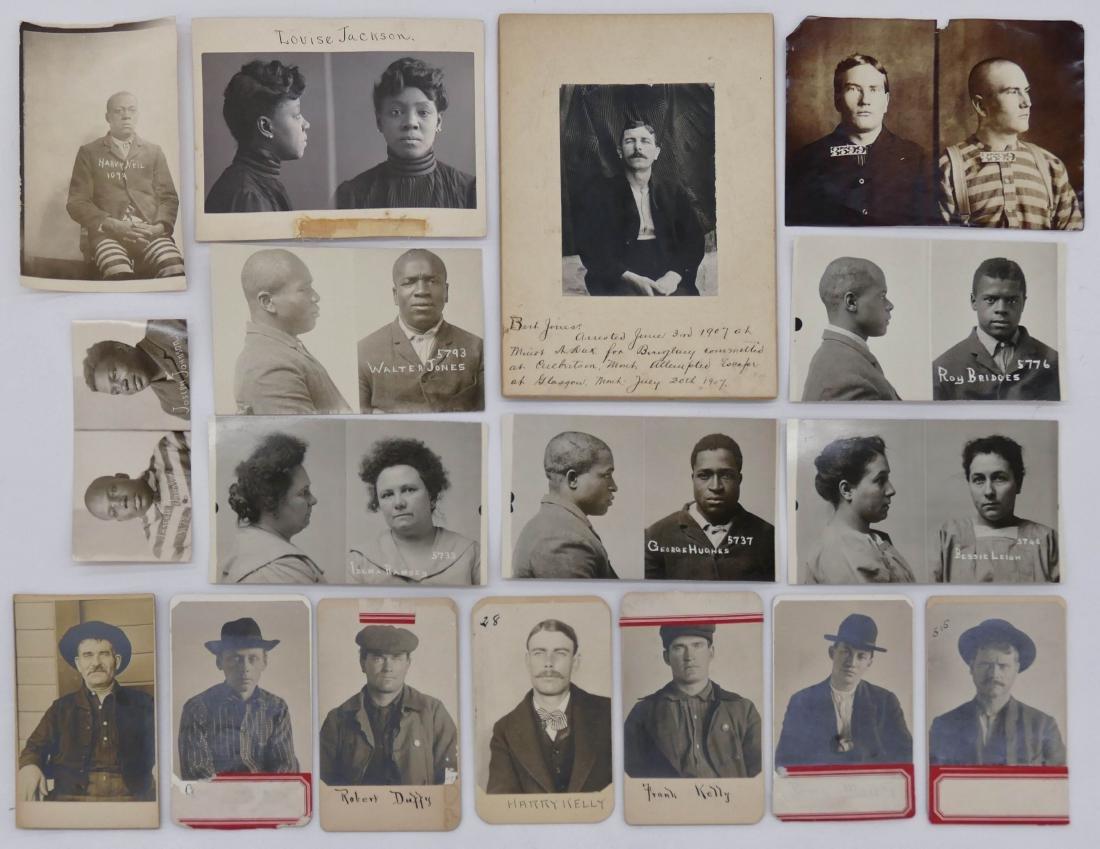 17pc Antique Prison Outlaw Photographs. Sizes Range
