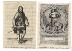 Two 17th C Engravings James VI and Oliver Cromwell