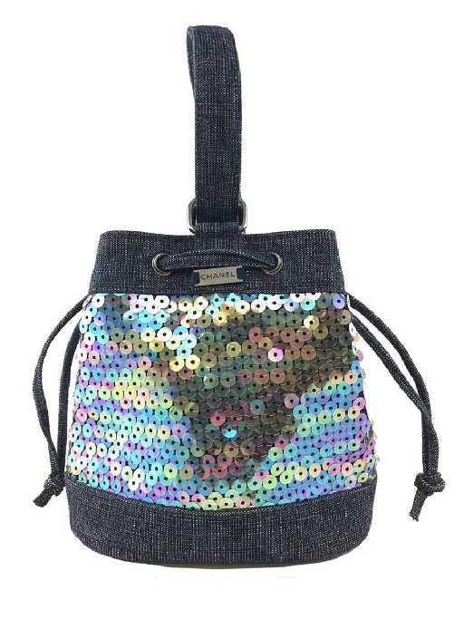 71582d763162 Chanel Sequin Denim Small Drawstring Bucket Bag