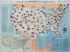 1946 Greyhound Bus Line Pictorial US Map -- Mapa