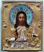 Antique 19 c Russian Silver Enamel icon of Christ