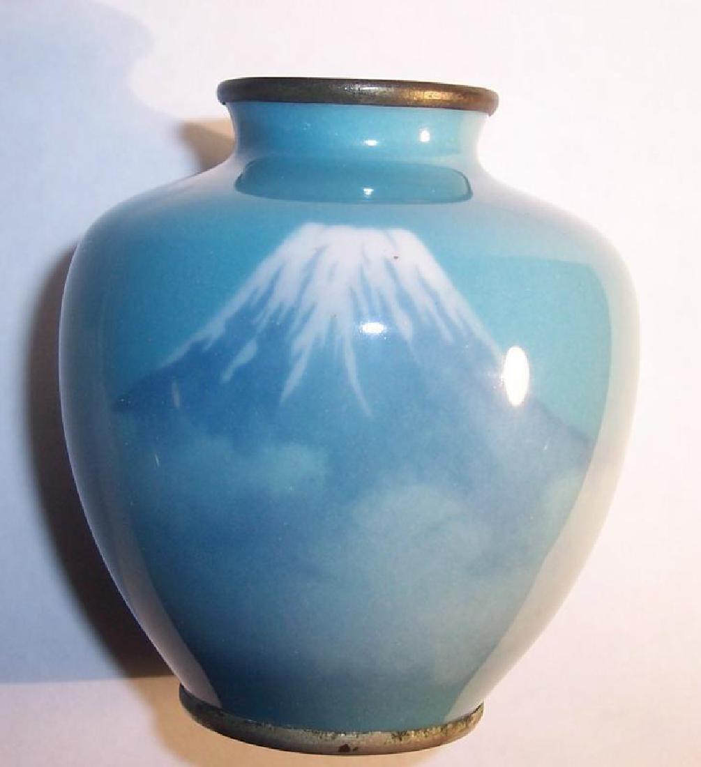 Meiji Japanese Musen Cloisonne Cabinet Vase Mount Fuji