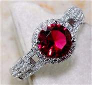 2CT Ruby & White Topaz 925 Solid Sterling Silver Ring