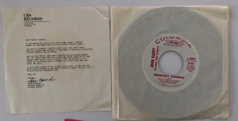 MIDNIGHT COWBOY - RARE RADIO STATION COPY