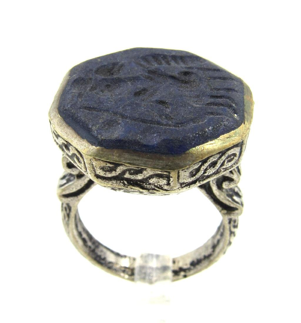 Post Medieval Silver Ring with Warrior on Lapis
