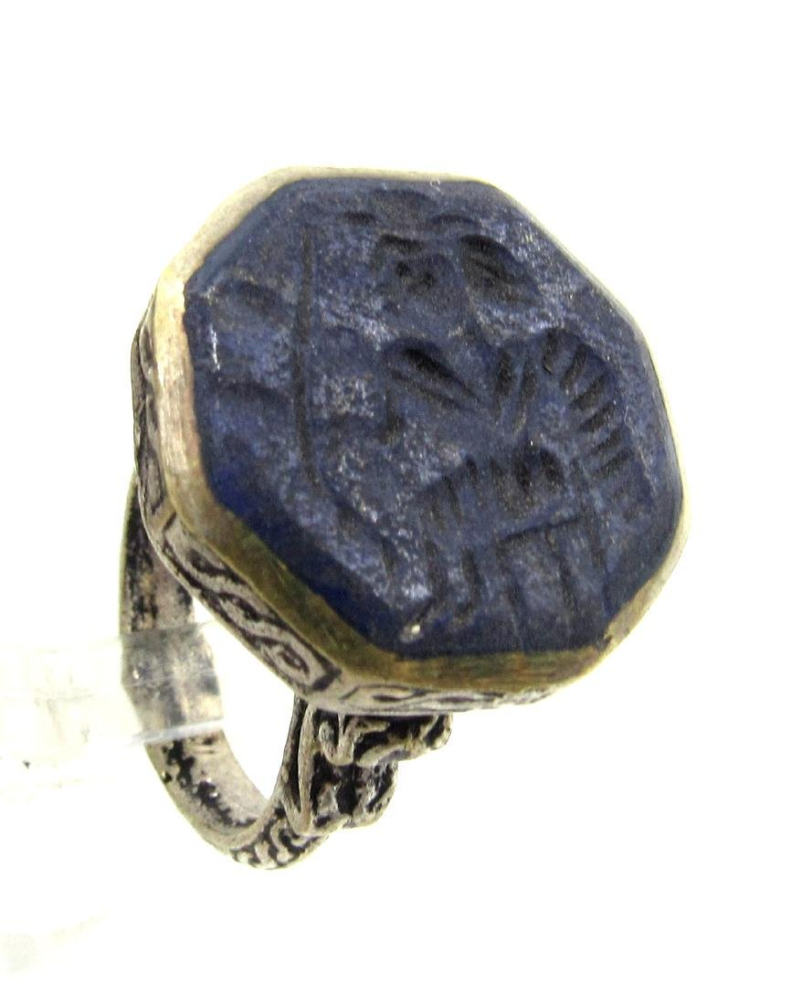 Post Medieval Silver Ring with Warrior on Lapis - 2
