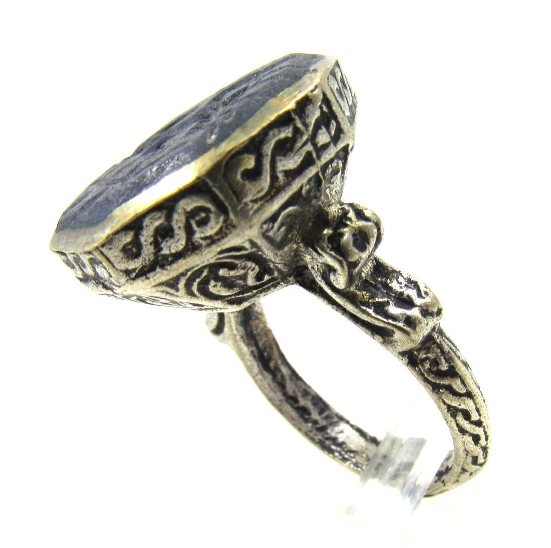Post Medieval Silver Ring with Warrior on Lapis - 3